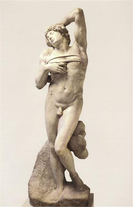 云石雕塑高229厘米米开朗基罗创作于1513-1516年
