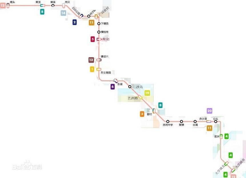 行经槎头→聚龙→ 棠溪 →岗贝→ 行向及介绍广州地铁12号线是由槎头