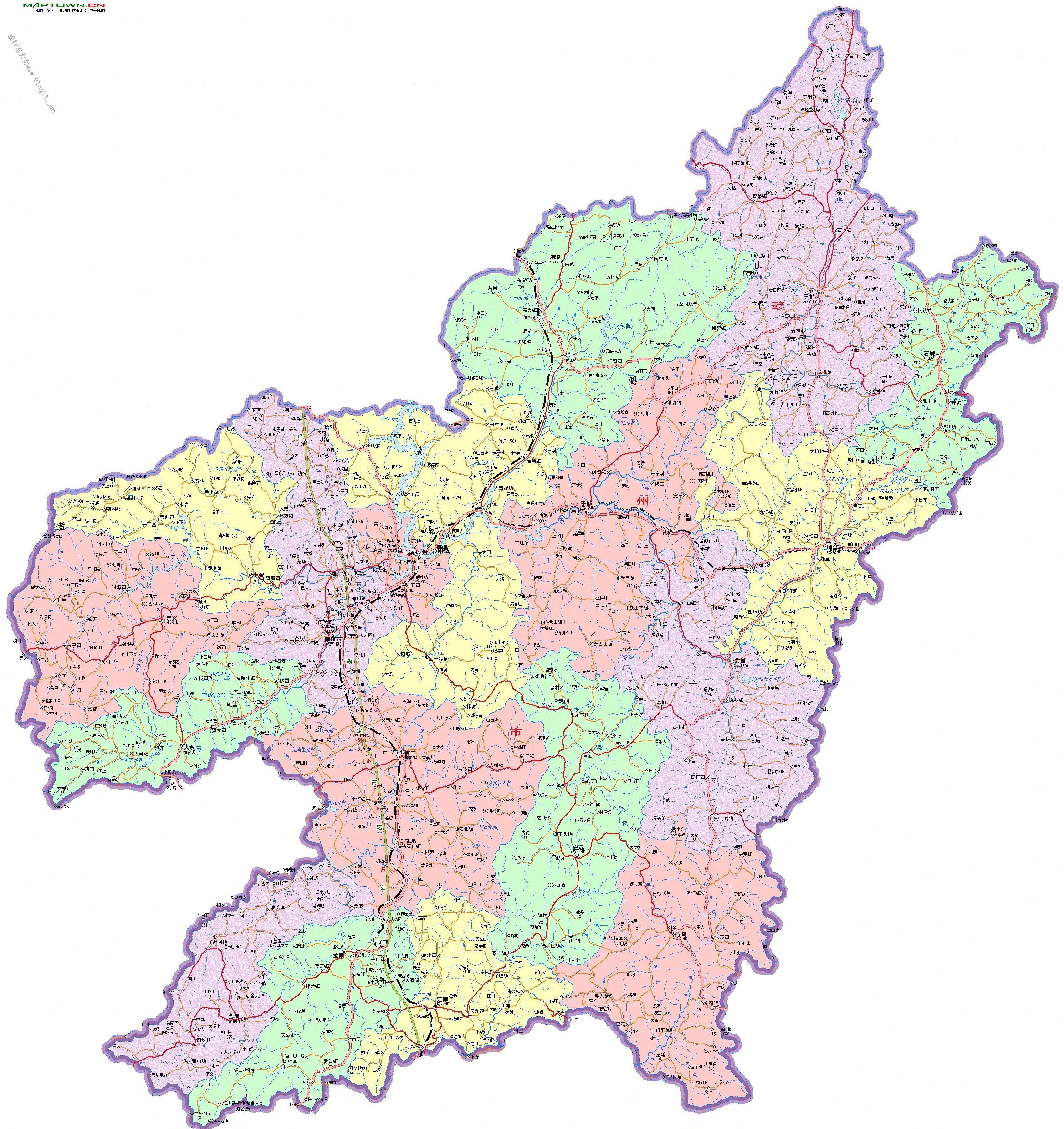江西省赣州市行政地图