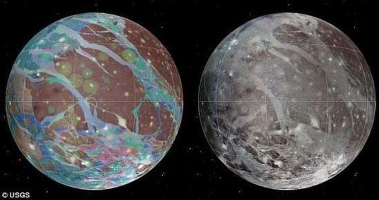 1972年,一支在印度尼西亚的波斯查天文台工作的印度、英国和美国天文学家联合团队宣称他们在一次掩星现象中探测到了木卫三的大气,当时木星正从一 颗恒星之前通过。他们估计其大气压约为1微巴(0.1帕)。1979年旅行者1号在飞掠过木星之时,借助当时的一次掩星现象进行了类似的观测,但是得到了不同的结果。旅行者1号的掩星观测法使用短于200纳米波长的远紫外线光谱进行观测,这比之1972年的可见光谱观测法,在测定气体存在与否方面要精确得多。旅行者1号的观测数据表明木卫三上并不存在大气,其表面的微粒数量密度最高只有1